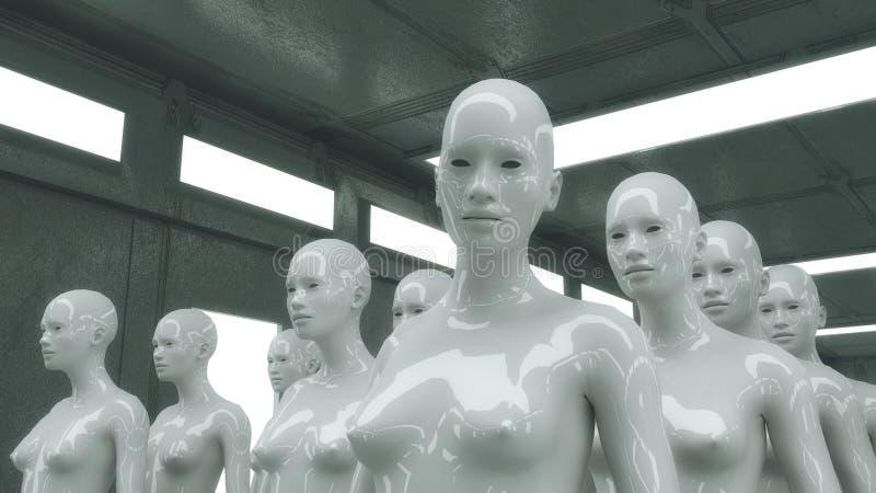 Clones de femelle de humanoïde et pièce futuriste illustration stock