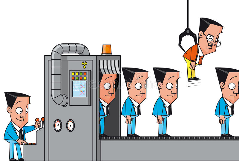 Cloning machine failure. Vector illustration Cloning machine failure vector illustration