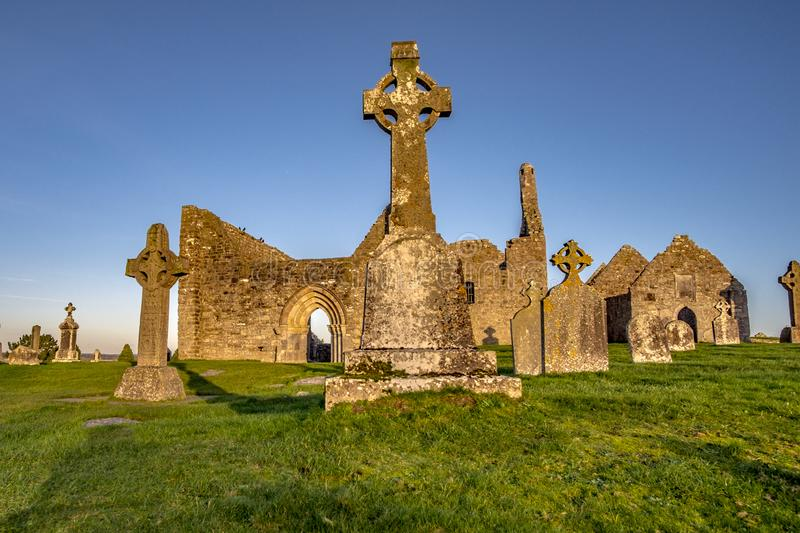 Clonmacnoise Monastery in Ireland countryside royalty free stock image