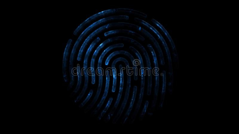 clorful指纹的氨基化作用 出现的指纹动画和失踪与火花的在黑色 向量例证