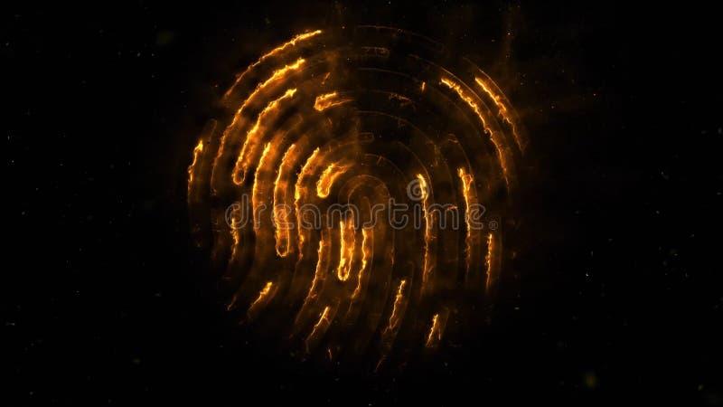 clorful指纹的氨基化作用 出现的指纹动画和失踪与火花的在黑色 皇族释放例证