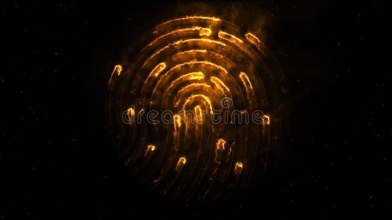 clorful指纹的氨基化作用 出现的指纹动画和失踪与火花的在黑色 库存例证