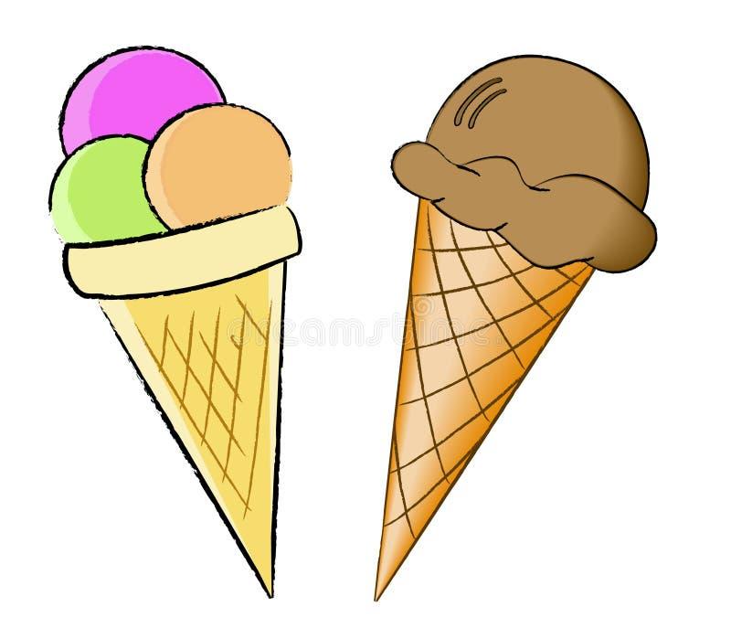 cloroful锥体奶油冰奶蛋烘饼 向量例证