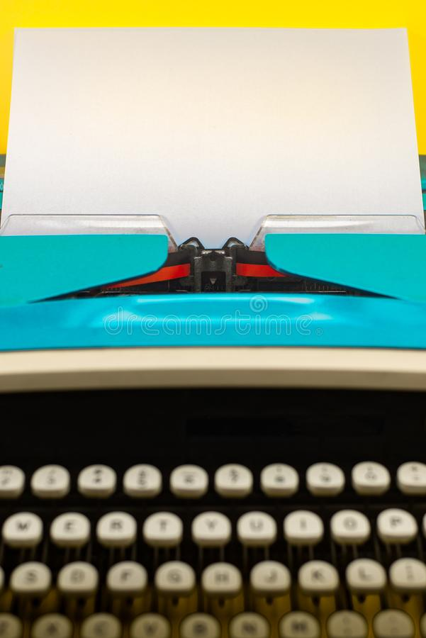 Clos Up of a Typewriter With Blank Sheet of Paper With Copy Space stock image
