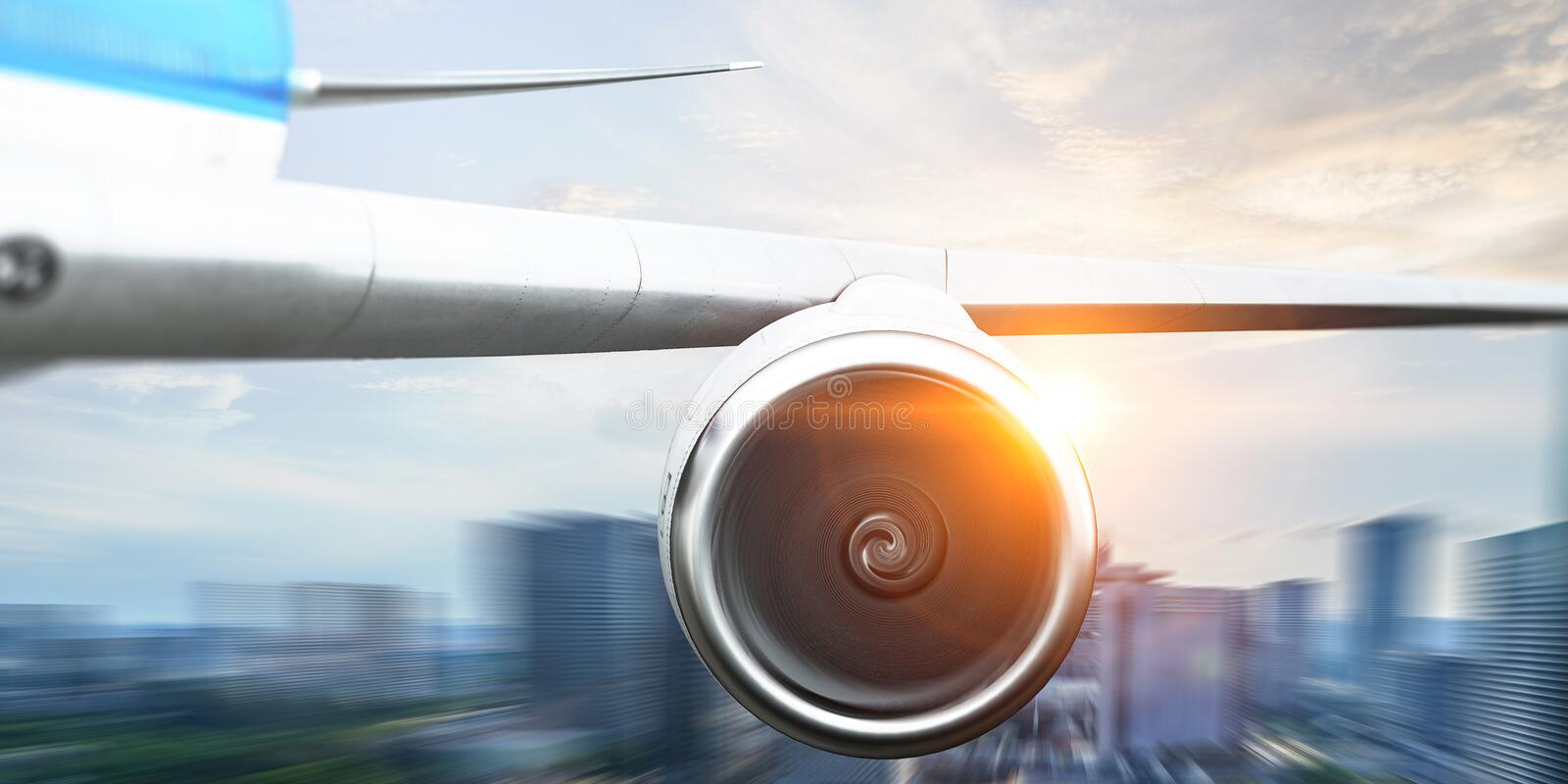 Close of airplane turbine . Mixed media royalty free stock images