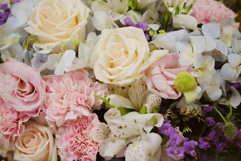 Close of beautiful Various flower bouquets royalty free stock images