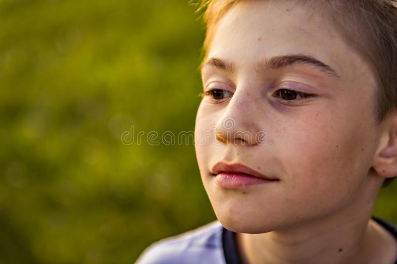 Close boy portrait at the sunset royalty free stock image