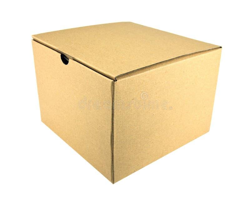 Close brown paper box. On white stock photos