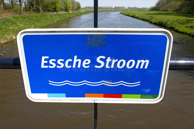 Close colorful nameplate of the short river Essche. Netherlands, province North Brabant, village Haaren: in the Valley of the Esschestroom flows into the estate royalty free stock photography