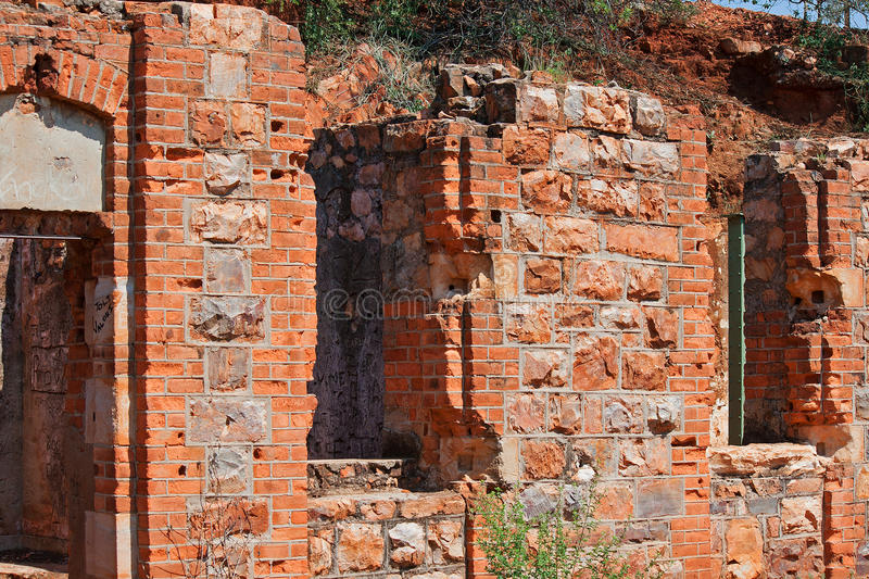 CLOSE DETAIL OF OLD FORT WALL. Openings in wall of old fort ruins royalty free stock images