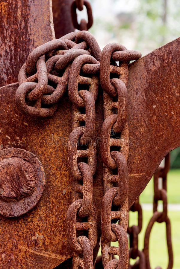 Details of rusty chains royalty free stock image