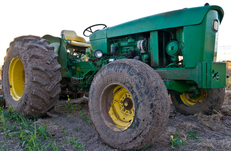 Close Green Tractor royalty free stock photos