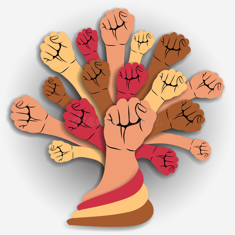 Close hands tree - unity concept stock illustration