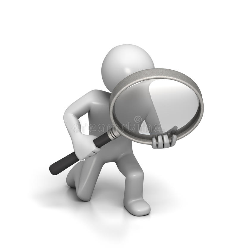 Close Inspection with Magnifying Glass stock illustration