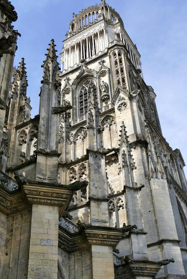 North tower of the Sainte-Croix cathedral in Orléans. Close and low angle view of the north tower of the Sainte-Croix cathedral in Orléans stock photography