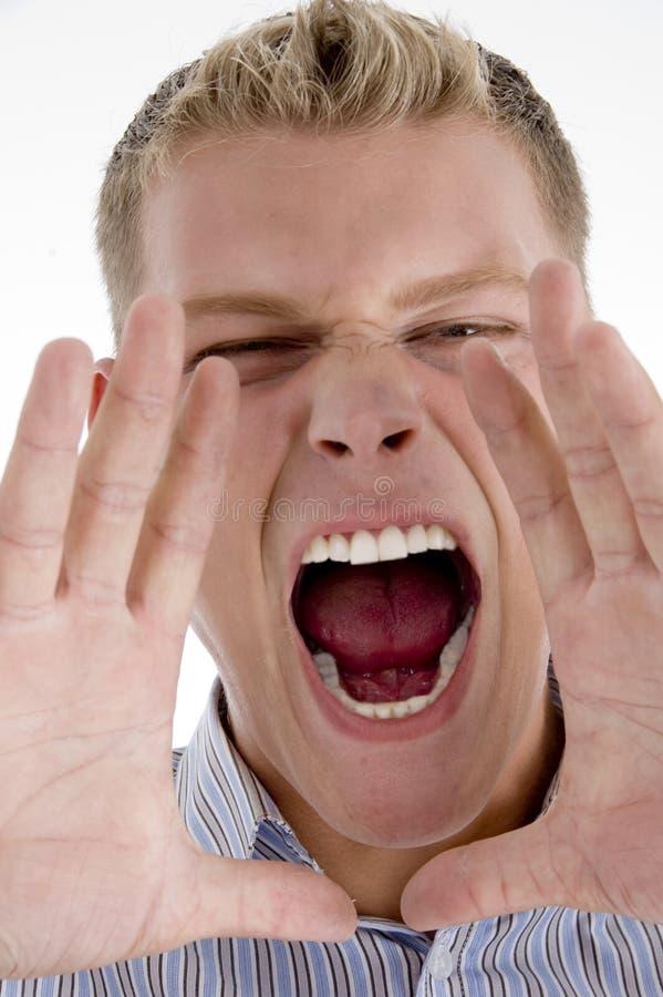close man shouting up στοκ φωτογραφία με δικαίωμα ελεύθερης χρήσης