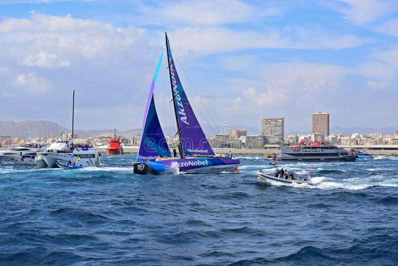 Close Navigation Team AkzoNobel Volvo Ocean Race Alicante royalty free stock image