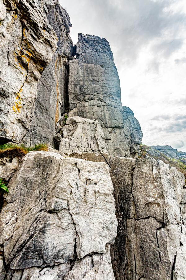 Close op of the rocky limestone in the Burren. Cappanwalla mountain, Geopark and Geosites, Wild Atlantic Way, spring day in County Clare in Ireland royalty free stock photography