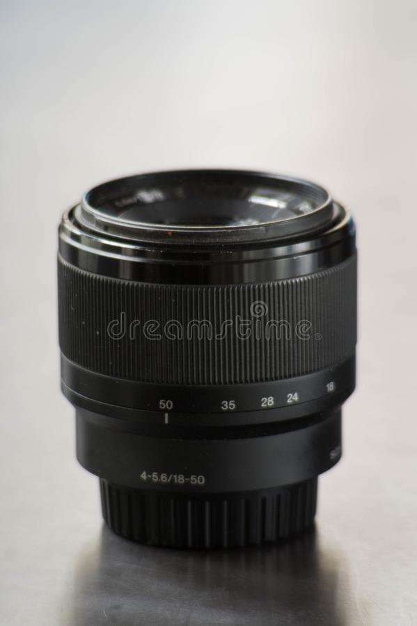 Close up photo of a 18-55 mm camera lens. Close photo 18-55 camera lens stock photos