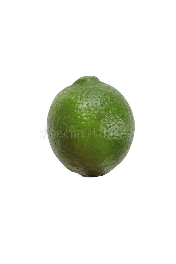 Close photo of isolated green lime. On the white background stock photo