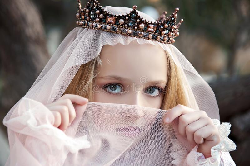 Close portrait of the girl enchantress in the crown with a face covered with a veil and charming big eyes royalty free stock photography