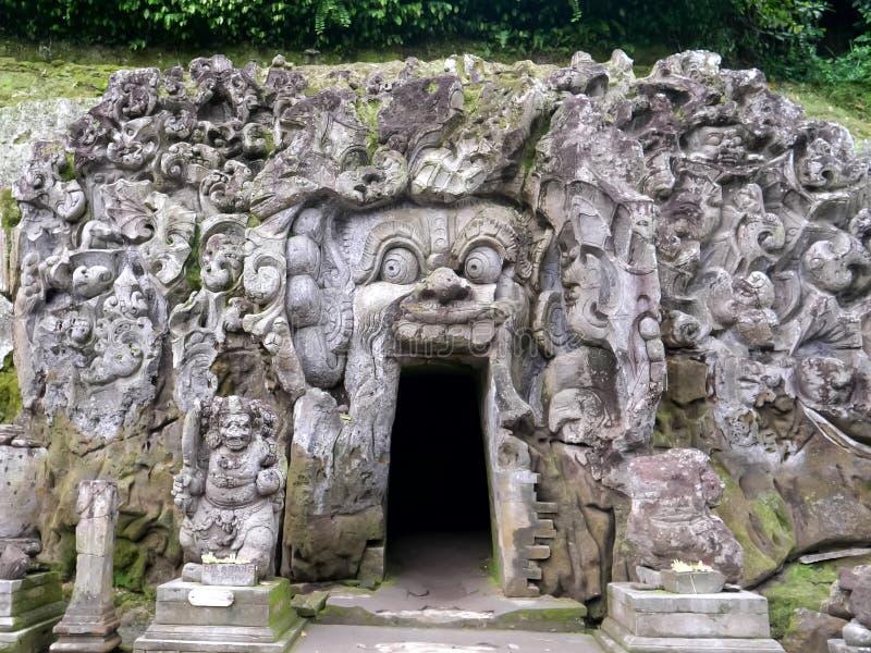 Close shot of elephant cave on bali, indonesia stock photography