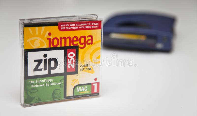 Iomega Zip 250 Drive and Disk royalty free stock image