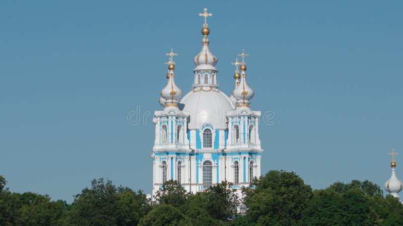 Close shot of the Smolny Cathedral in the summer stock images