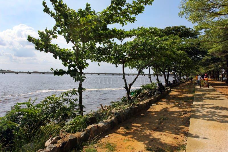 Close to bridge on Wouri, Douala, Cameroun royalty free stock photos