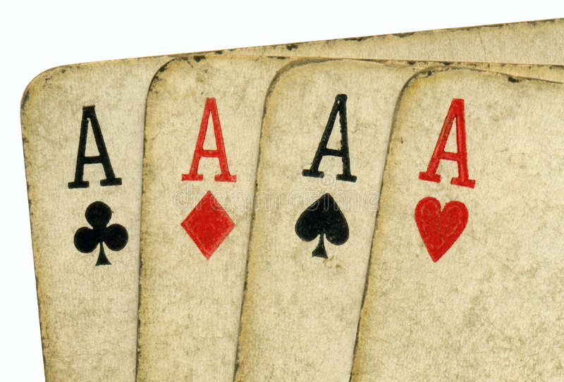 Download Close Up 4 Old Vintage Dirty Aces Poker Cards. Stock Image - Image: 7712699