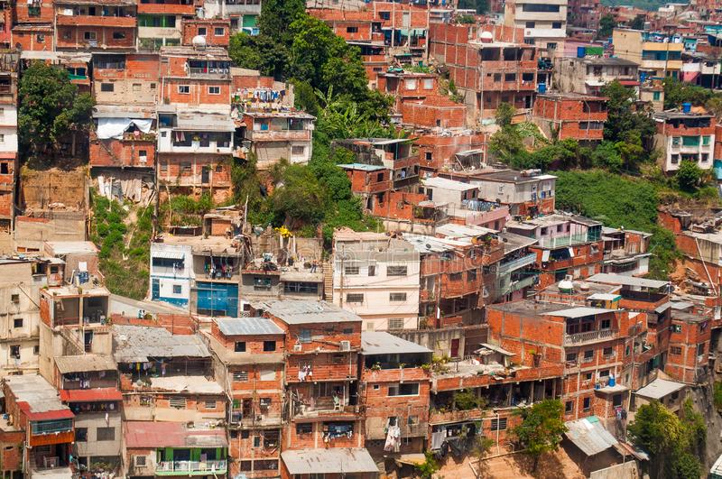 Close up above view of shanty town and slums with daylight in south american city stock images
