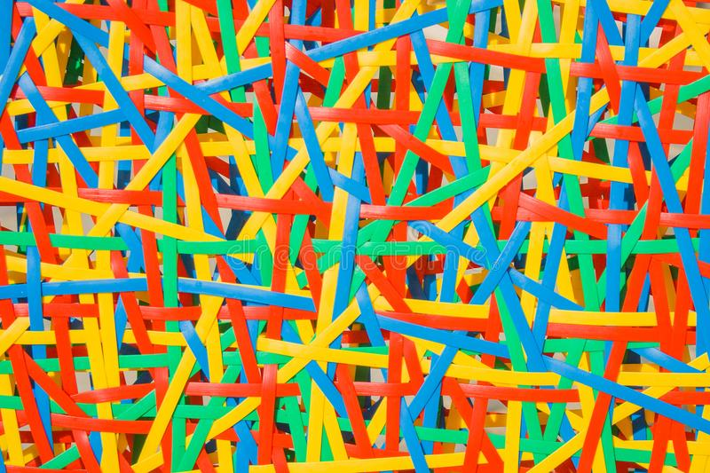 Close up abstract image or texture of colorful plastic weave. stock image