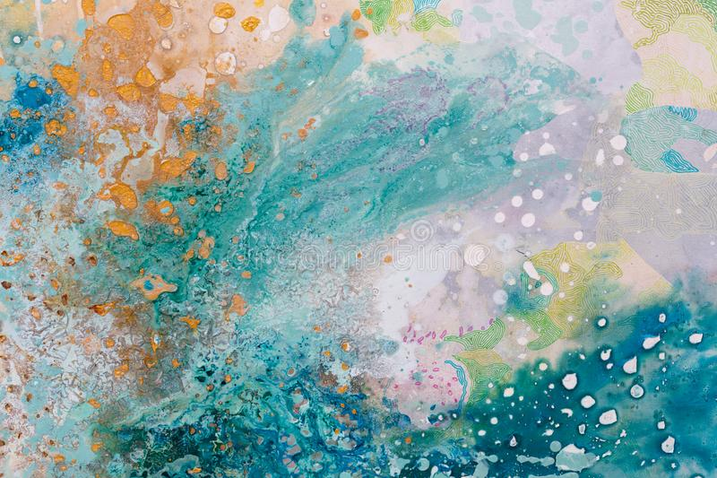 Close up of abstract painting. Oil picture. Colors splashing. stock photos
