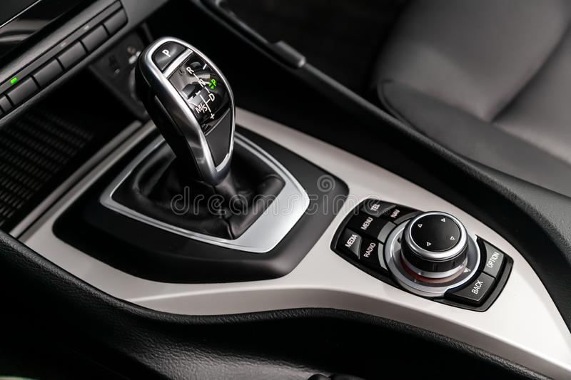 Automatic transmission gear of car , car interior stock photography