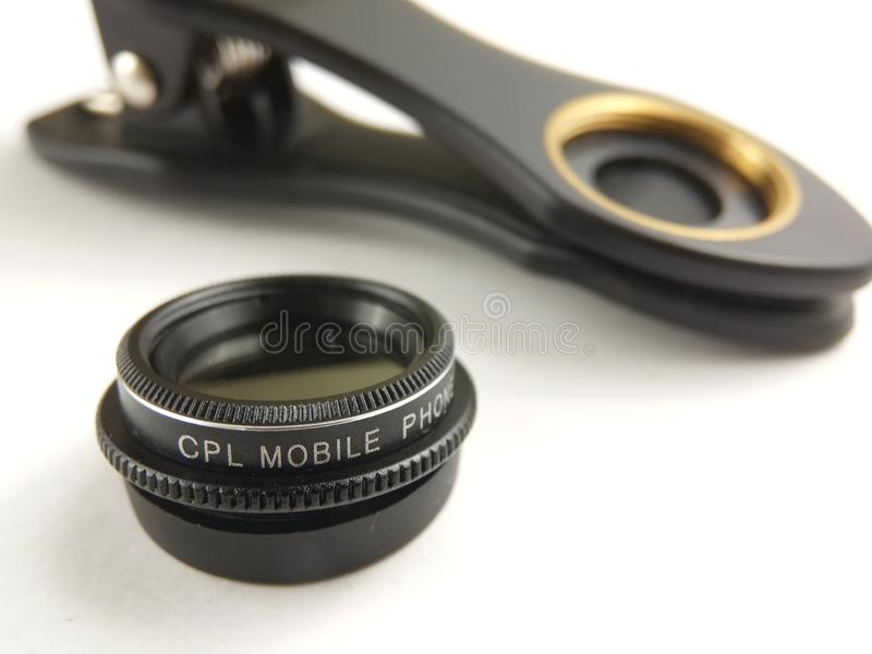 Close Up Accessories for Mobile Phone Photography, CPL, Circular Polarizer royalty free stock photo