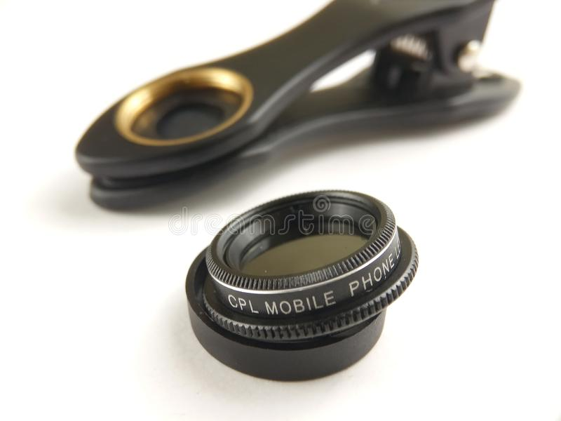 Close Up Accessories for Mobile Phone Photography, CPL, Circular Polarizer. Accessories for Mobile Phone Photography, CPL, Circular Polarizer stock photography