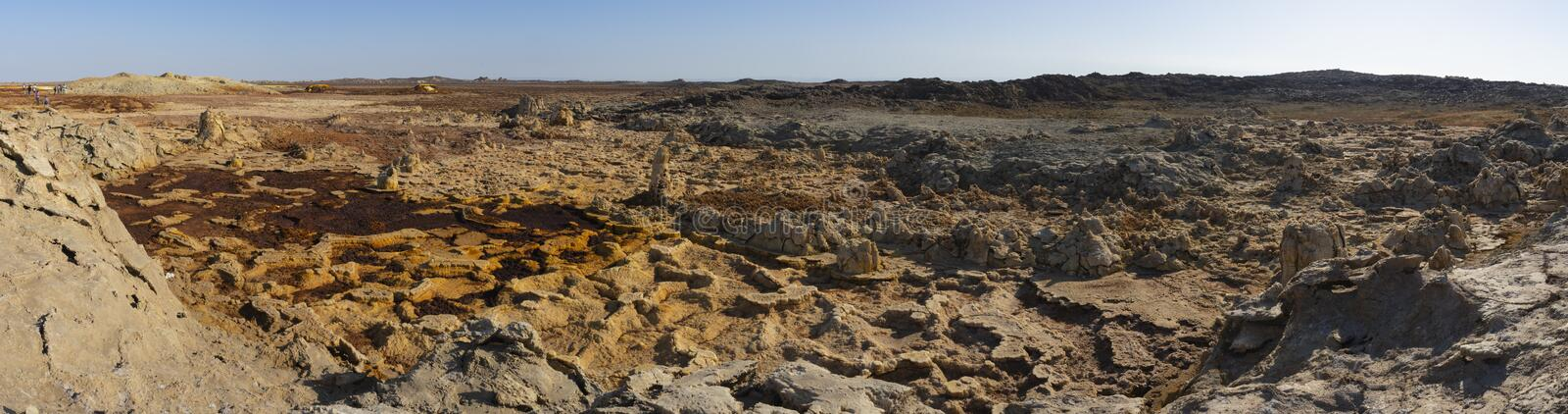 Close up of the acid and salty concretions in Dallol site in the Danakil Depression in Ethiopia, Africa. Close up of the acid and salty concretions in Dallol stock image