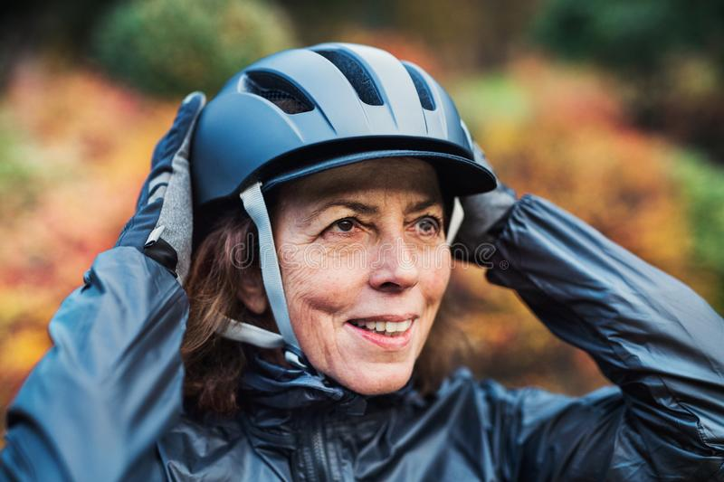 A close-up of active senior woman standing outdoors, putting on bicycle helmet. A close-up of active senior woman standing outdoors in nature, putting on royalty free stock photography
