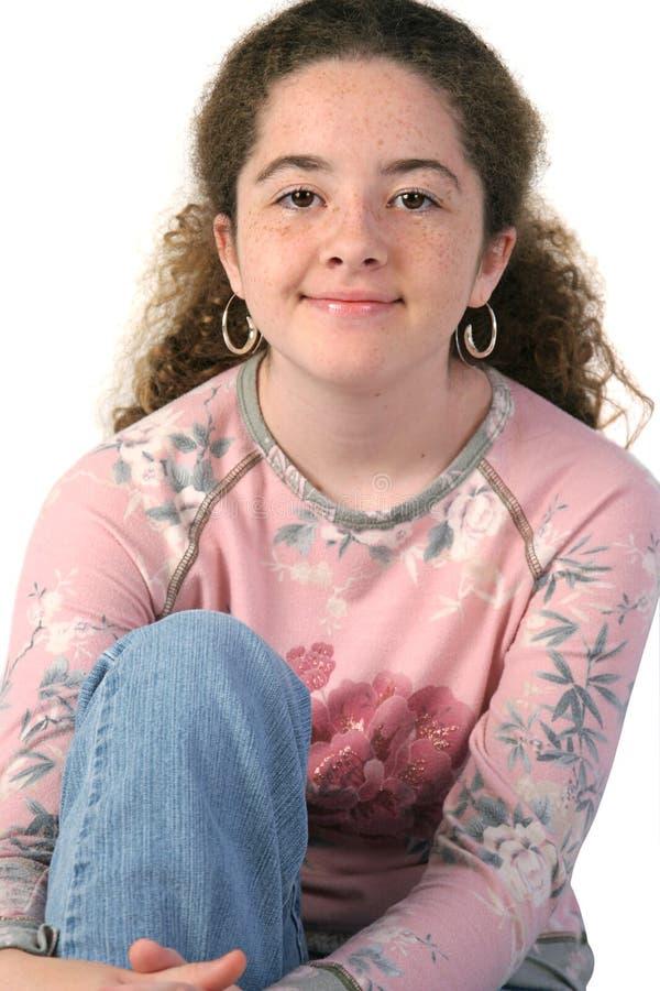 Close up adolescente ocasional da menina fotografia de stock