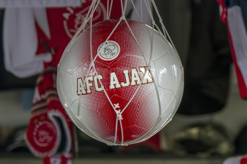 Close Up Of A AFC Ajax Ball At Amsterdam The Netherlands 2019 royalty free stock photo