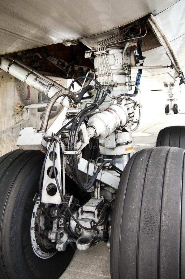 Close up of an airplane chassis stock photos