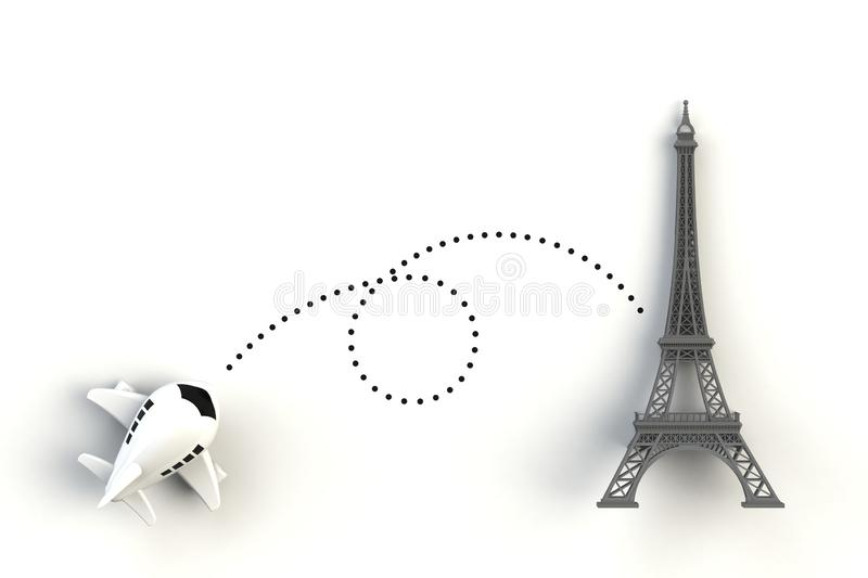Close up of airplane flying go to eiffel tower concept illustration on white background, Top view with copy space. 3d rendering stock illustration