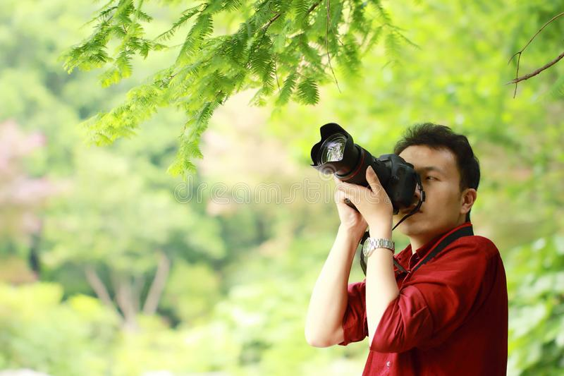 Close up Aisan Chinese man photographer hold camera work in nature shot maple royalty free stock photography