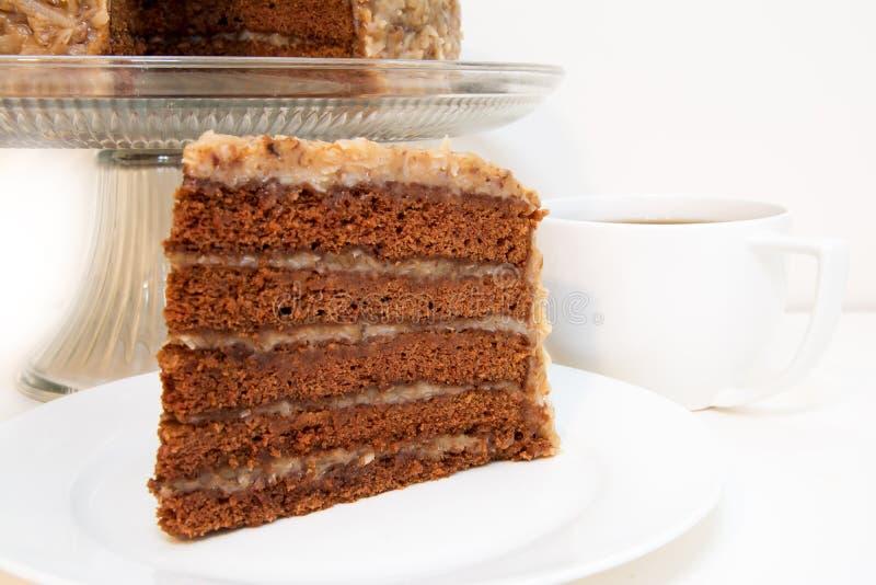 Close up alemão da fatia do bolo de chocolate imagem de stock royalty free