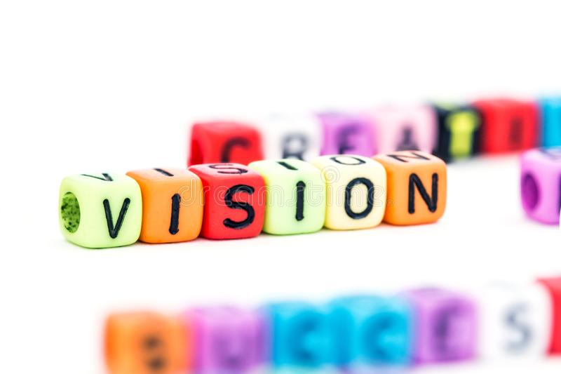 Close up a alphabet block of VISION word for business strategy c stock photo