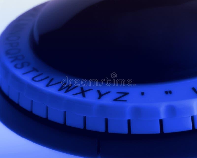 Close Up of Alphabet Wheel of Label Maker stock image