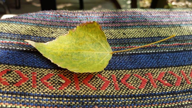 Close up amarelo bonito da folha na superfície listrada étnica da tela de tecelagem imagens de stock