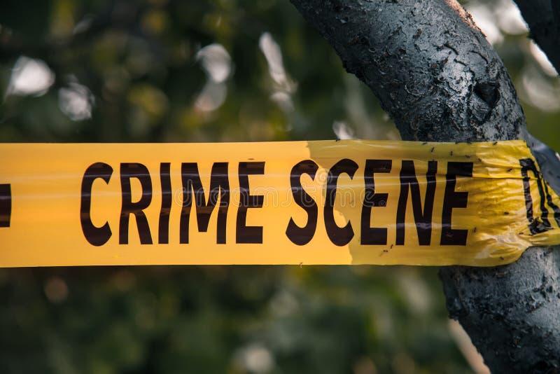 Close up amarelo da fita da polícia da cena do crime imagem de stock