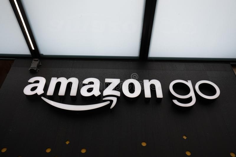 Close up on the Amazon Go store sign at the downtown Seattle Amazon headquarters stock photo