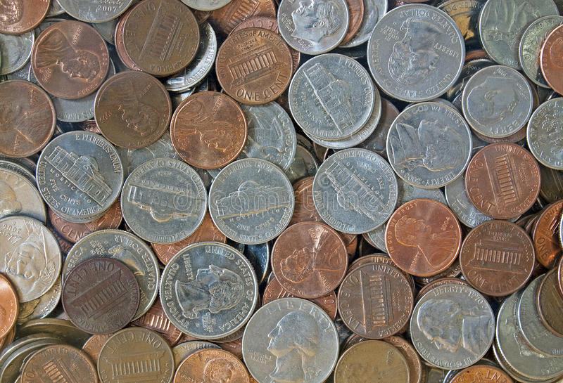 Close-up of American Coins. Close-up of quarters, dimes, nickels and pennies royalty free stock image